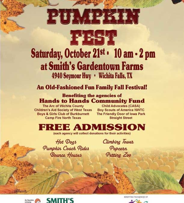 Pumpkin Fest—TODAY— 10 am – 2 pm—Smith's Gardentown Farms FREE ADMISSION